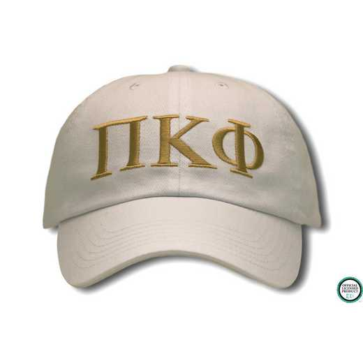 pikphigo2: Pi Kappa Phi Greek Letter Baseball Cap-Cream/Gold