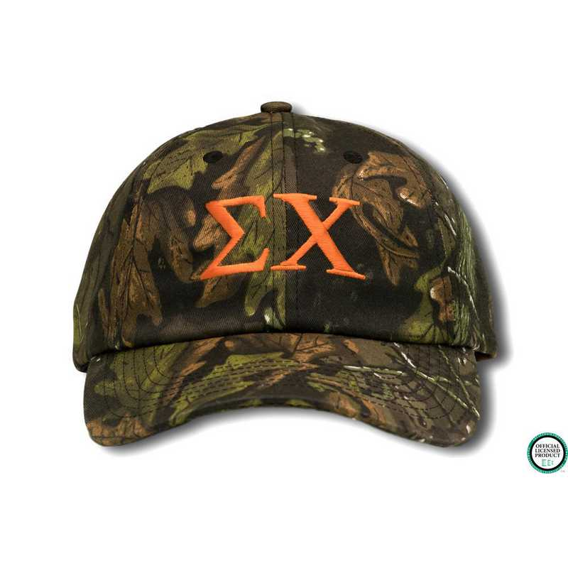 schigo2: Sigma Chi Greek Letter Baseball Cap-Camo/Red