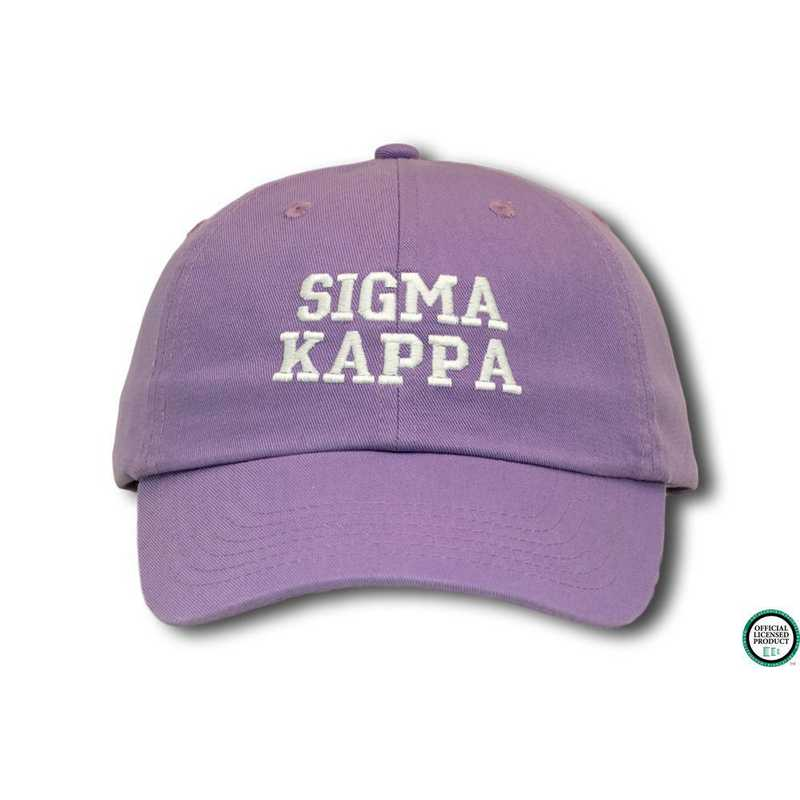 skcs1: Sigma Kappa Athletic Baseball Cap-Lt Purple/White