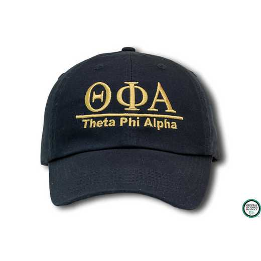 tphia1l1: Theta Phi Alpha Line Design Baseball Cap-Black/Yellow