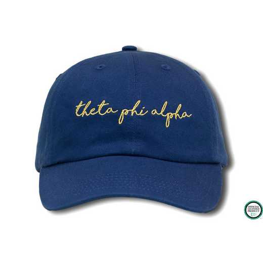tphiahw1: Theta Phi Alpha Handwriting Script Baseball Cap-Blue/Yellow