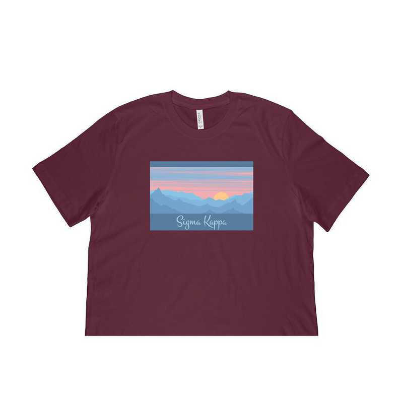 Sigma Kappa Mountain Scene T-Shirt-Burgundy