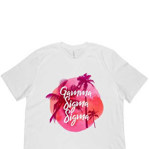 Gamma Sigma Sigma Tropical Palm Tree Sunset-White