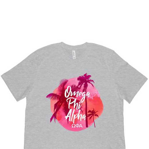 Omega Phi Alpha Tropical Palm Tree Sunset-Gray