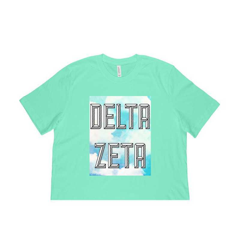 Delta Zeta Watercolor Sky T-Shirt-Green