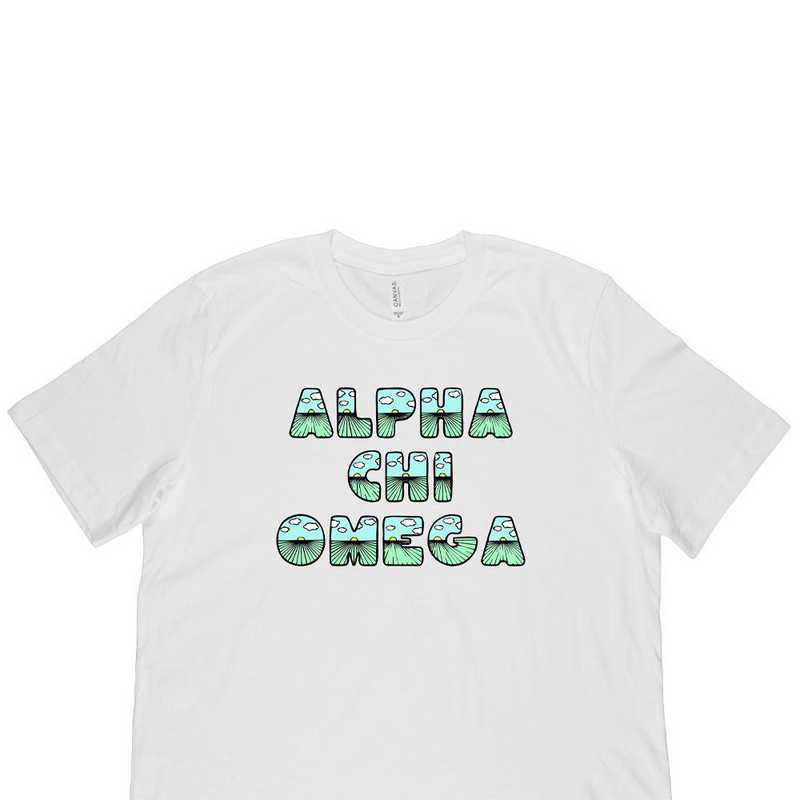 Alpha Chi Omega Spring Sunrise Bubble Font-White