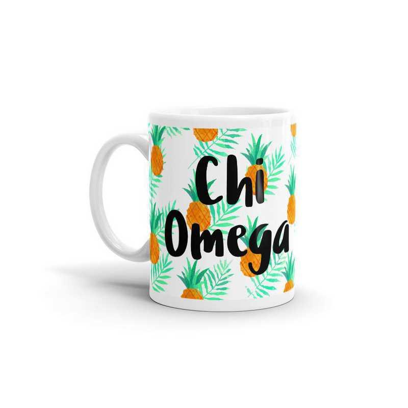MG110: TS Chi Omega All Over Pineapple Print Coffee Mug