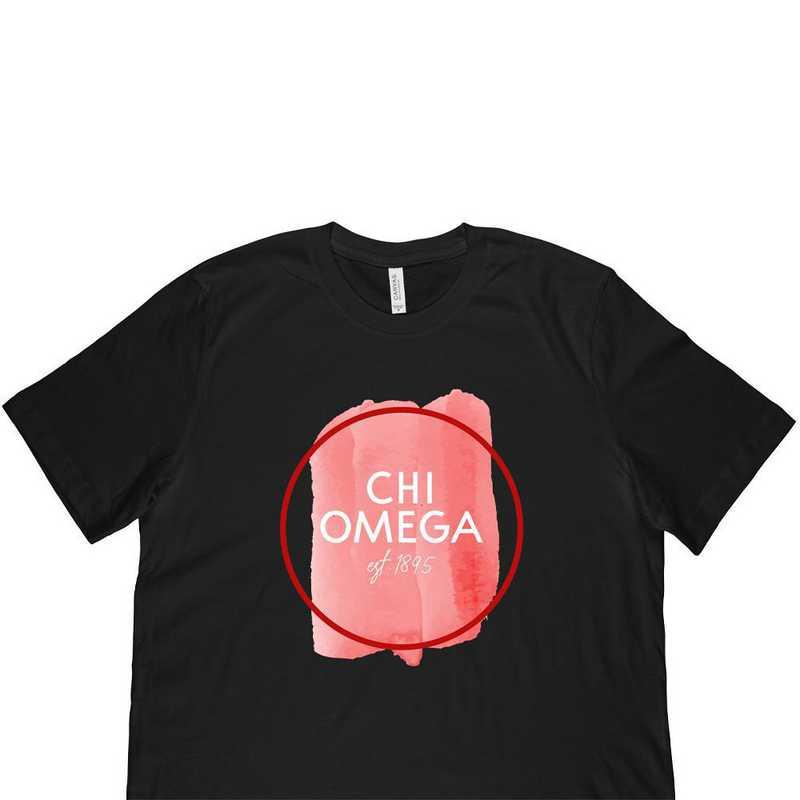 Chi Omega Watercolor Circle-Black