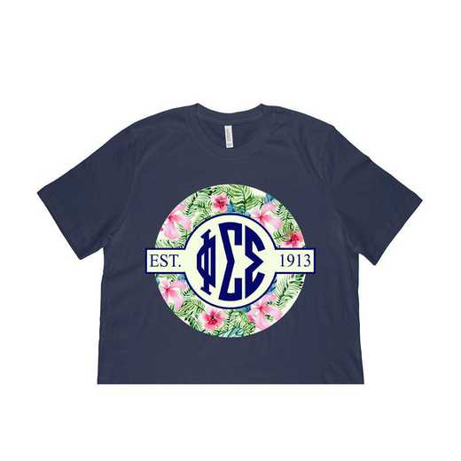 Phi Sigma Sigma Tropical Hibiscus Circle Seal T-Shirt