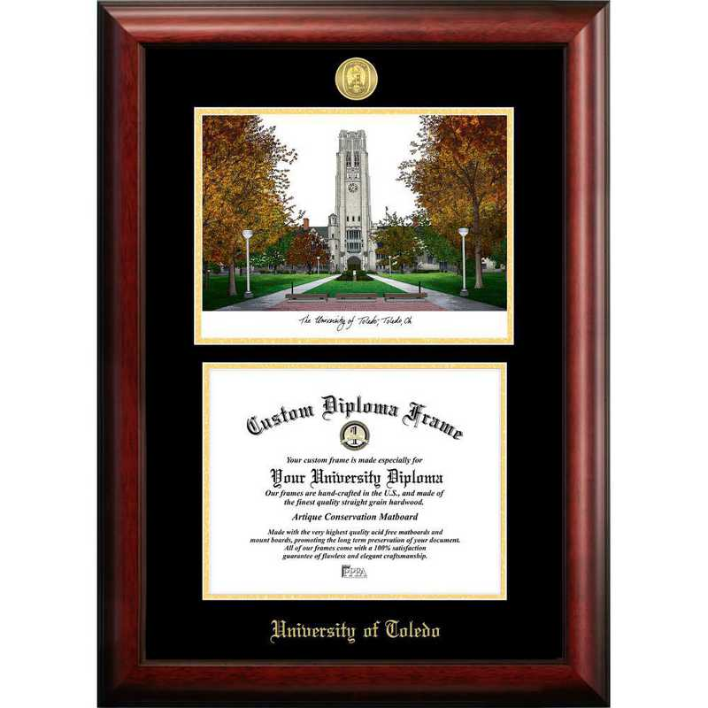 OH985LGED-1411: University of Toledo 14w x 11h Gold Embossed Diploma Frame with Campus Images Lithograph
