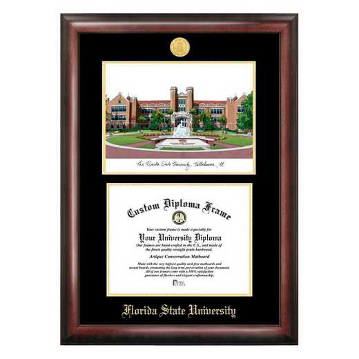 FL985LGED-1411: Florida State University 14w x 11h Gold Embossed Diploma Frame with Campus Images Lithograph