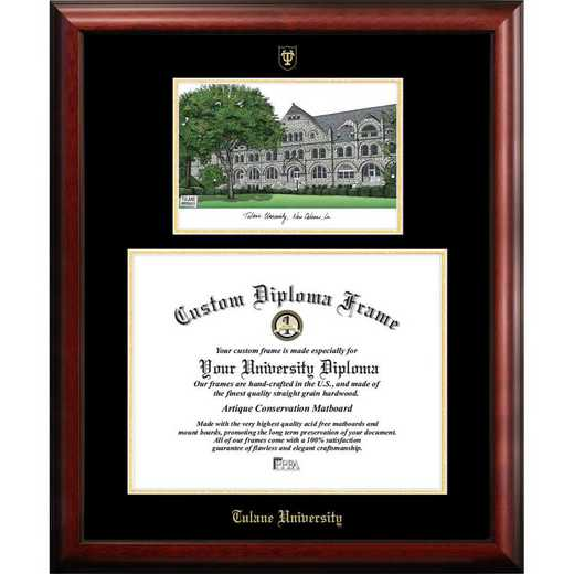 LA995LGED-1185: Tulane University 11w x 8.5h Gold Embossed Diploma Frame with Campus Images Lithograph
