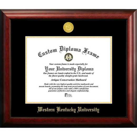 KY996GED-1185: Western Kentucky University 11w x 8.5h Gold Embossed Diploma Frame