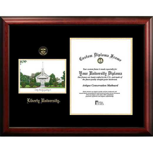 VA989LGED-1185: Liberty University 11w x 8.5h Gold Embossed Diploma Frame with Campus Images Lithograph