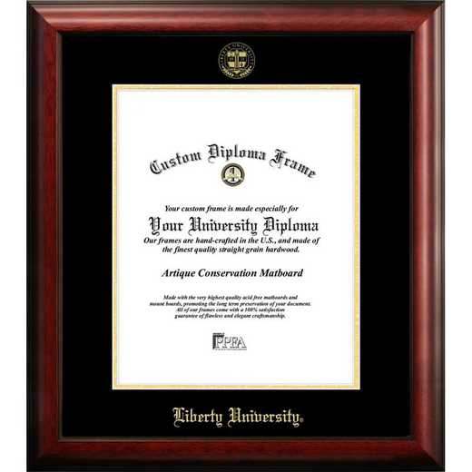VA989GED-1185: Liberty University 11w x 8.5h Gold Embossed Diploma Frame