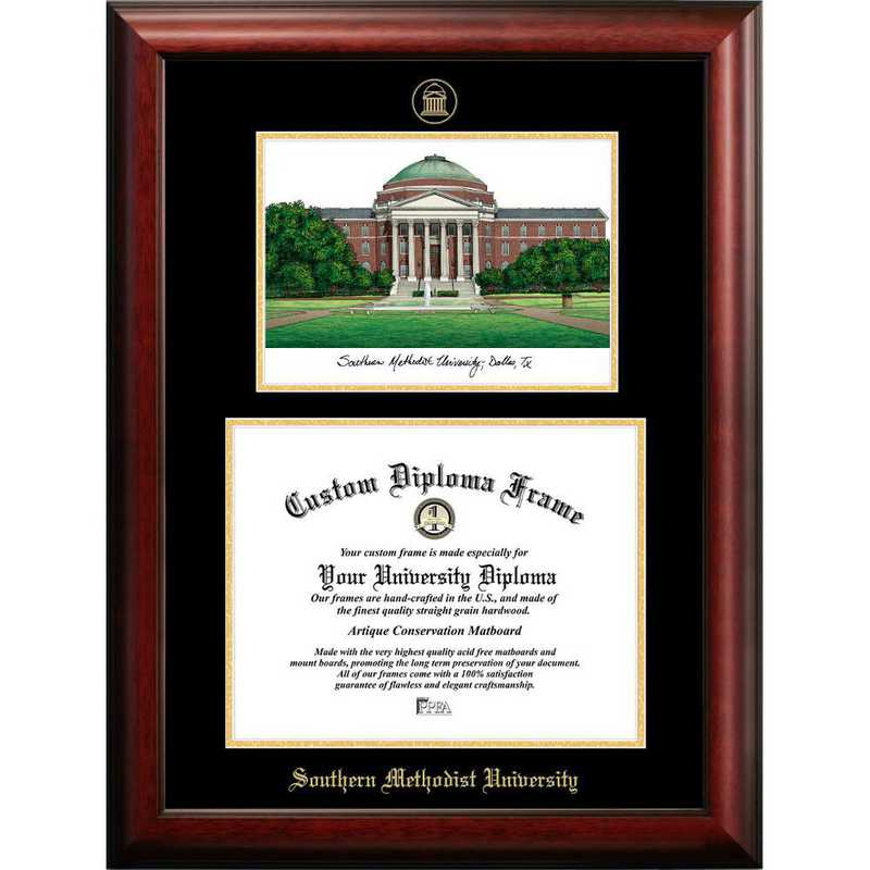 TX944LGED-1185: Southern Methodist University 11w x 8.5h Gold Embossed Diploma Frame with Campus Images Lithograph