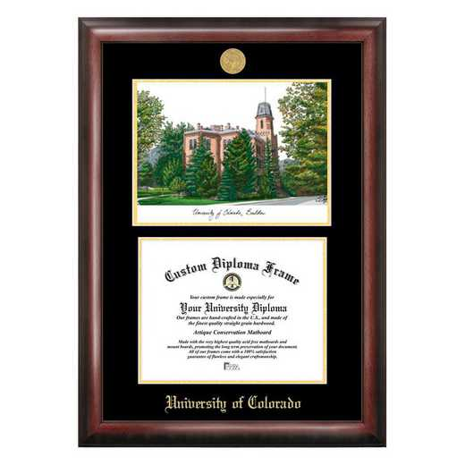 CO995LGED-108: University of Colorado, Boulder 10w x 8h Gold Embossed Diploma Frame with Campus Images Lithograph