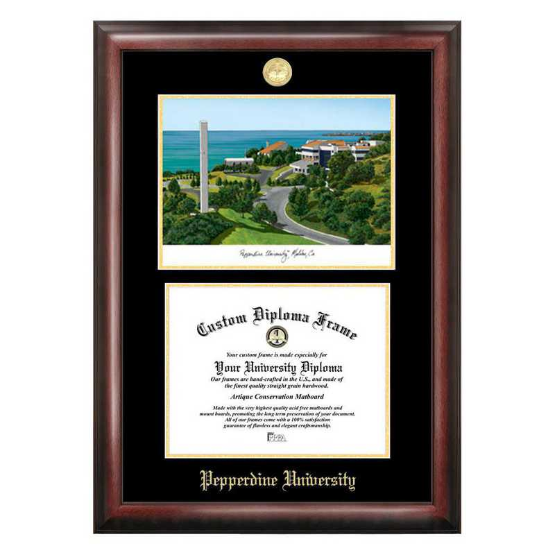 CA944LGED-1185: Pepperdine University 11w x 8.5h Gold Embossed Diploma Frame with Campus Images Lithograph