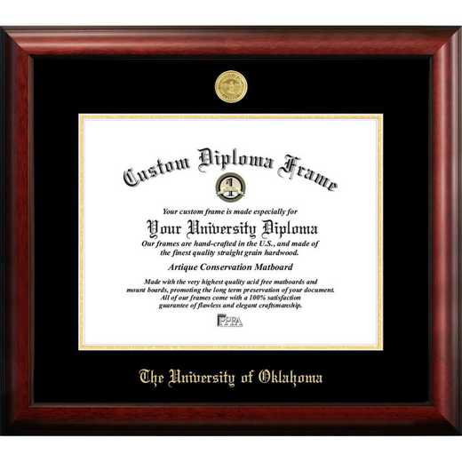 OK998GED-1185: University of Oklahoma 11w x 8.5h Gold Embossed Diploma Frame