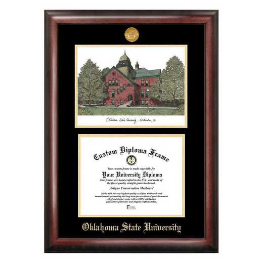 OK999LGED-1185: Oklahoma State Cowboys 11w x 8.5h Spirit Graduate Diploma Frame and Lithograph