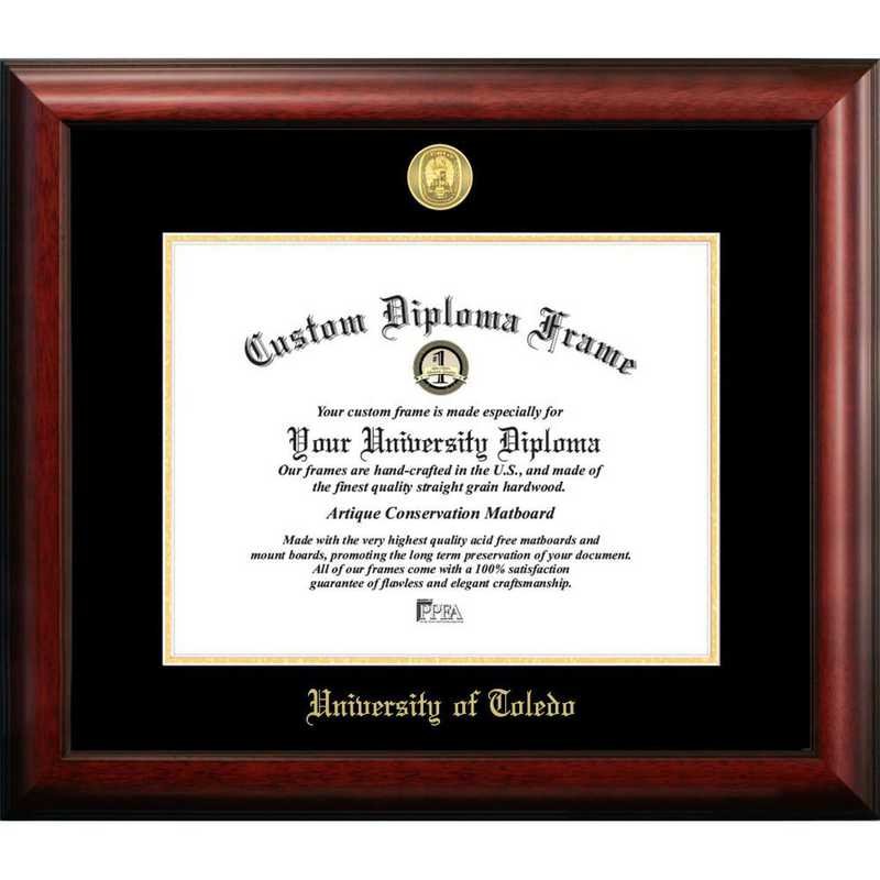 OH985GED-108: University of Toledo 10w x 8h Gold Embossed Diploma Frame