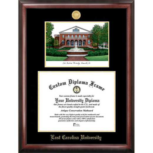 NC995LGED-1411: East Carolina University 14w x 11h Gold Embossed Diploma Frame with Campus Images Lithograph