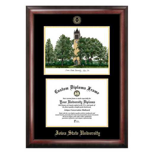 IA998LGED-1185: Iowa State University 11w x 8.5h Gold Embossed Diploma Frame with Campus Images Lithograph