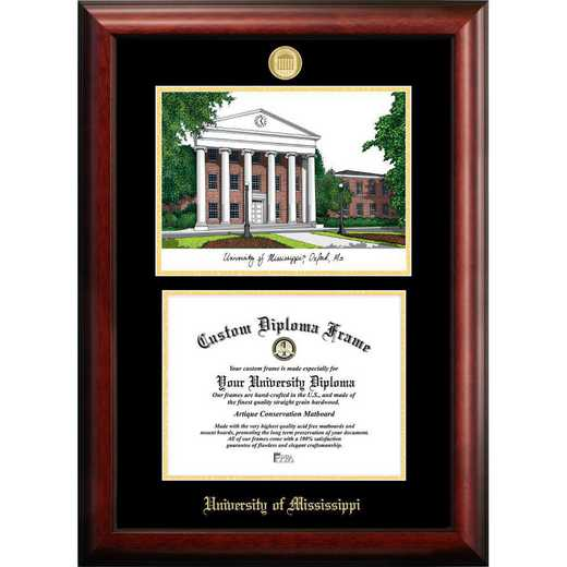 MS999LGED-1185: University of Mississippi 12w x 9h Gold Embossed Diploma Frame with Campus Images Lithograph