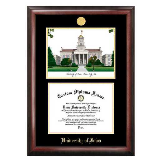 IA995LGED-1185: University of Iowa 11w x 8.5h Gold Embossed Diploma Frame with Campus Images Lithograph