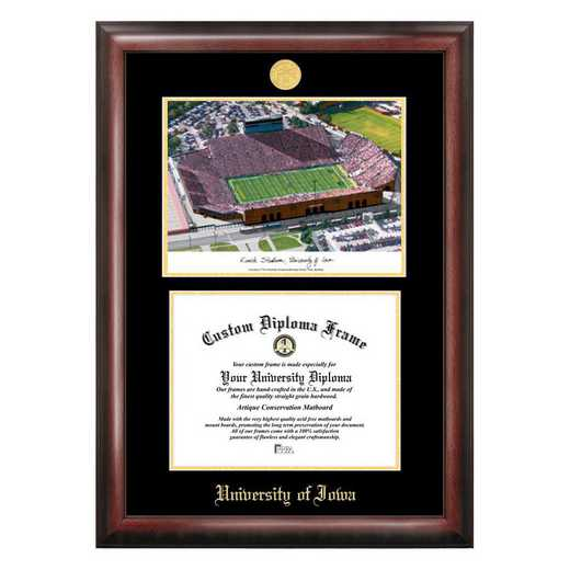 IA997LGED-1185: University of Iowa Hawkeyes Kinnick Stadium 11w x 8.5h Gold Embossed Diploma Frame with Campus Images Lithograph