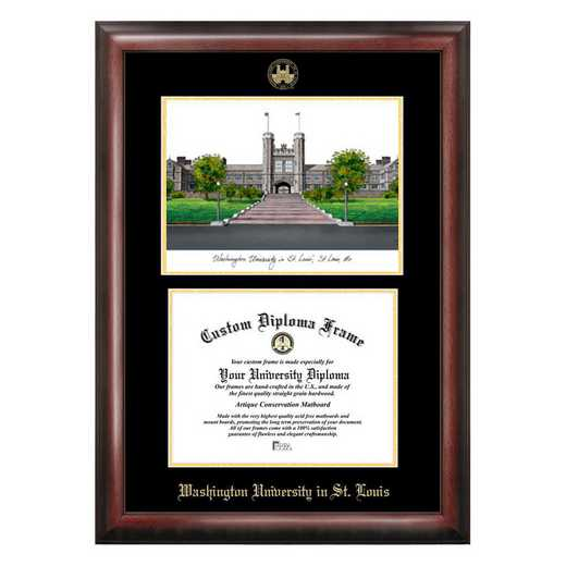 MO997LGED-1185: Washington University in St. Louis 11w x 8.5h Gold Embossed Diploma Frame with Campus Images Lithograph