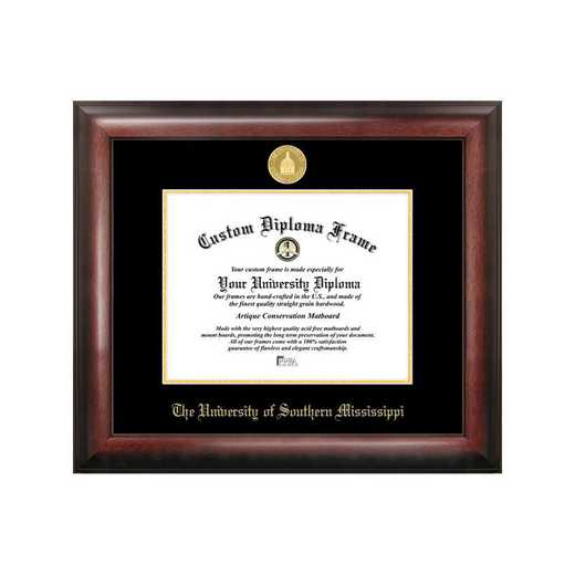 MS998GED-1185: Southern Mississippi 11w x 8.5h Gold Embossed Diploma Frame