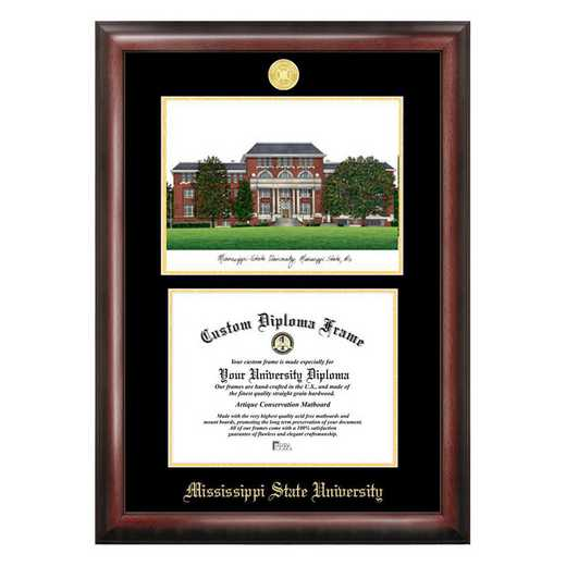 MS997LGED-1185: Mississippi State University 11w x 8.5hGold Embossed Diploma Frame with Campus Images Lithograph