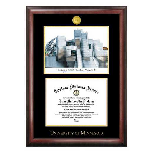 MN999LGED-1185: University of Minnesota 11w x 8.5h Gold Embossed Diploma Frame with Campus Images Lithograph