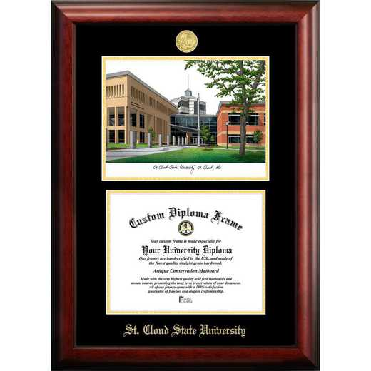 MN998LGED-1185: St. Cloud State 11w x 8.5h Gold Embossed Diploma Frame with Campus Images Lithograph
