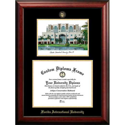 FL984LGED-1185: Florida International University 11w x 8.5h Gold Embossed Diploma Frame with Campus Images Lithograph