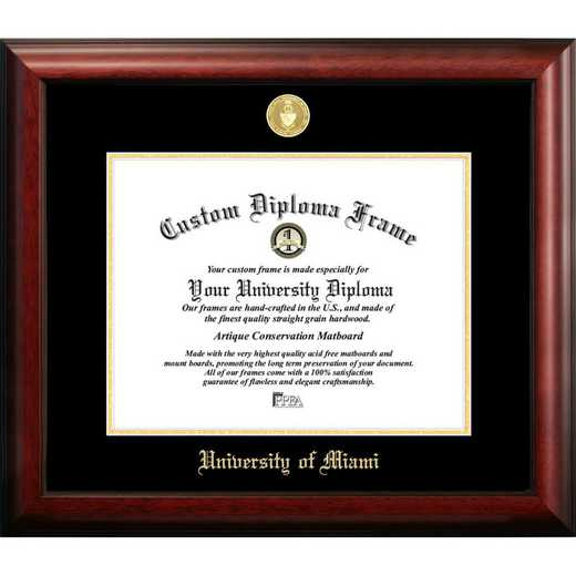 FL988GED-1185: University of Miami 11w x 8.5h Gold Embossed Diploma Frame