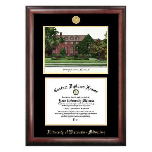 WI994LGED-108: University of Wisconsin, Milwaukee 10w x 8h Gold Embossed Diploma Frame with Campus Images Lithograph