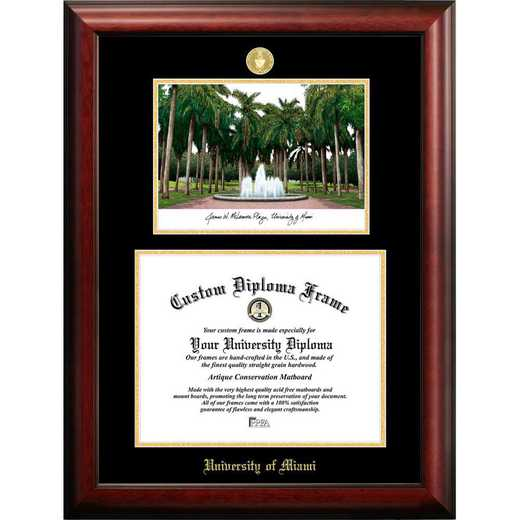 FL988LGED-1185: University of Miami 11w x 8.5h Gold Embossed Diploma Frame with Campus Images Lithograph