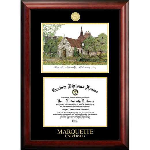 WI999LGED-129: Marquette University 12w x 9h Gold Embossed Diploma Frame with Campus Images Lithograph