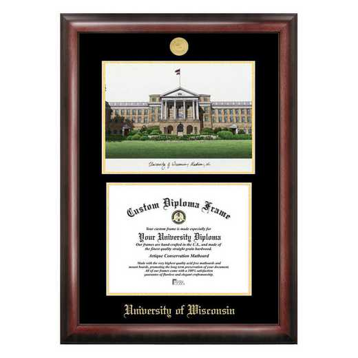 WI995LGED-108: University of Wisconsin - Madison 10w x 8h Gold Embossed Diploma Frame with Campus Images Lithograph