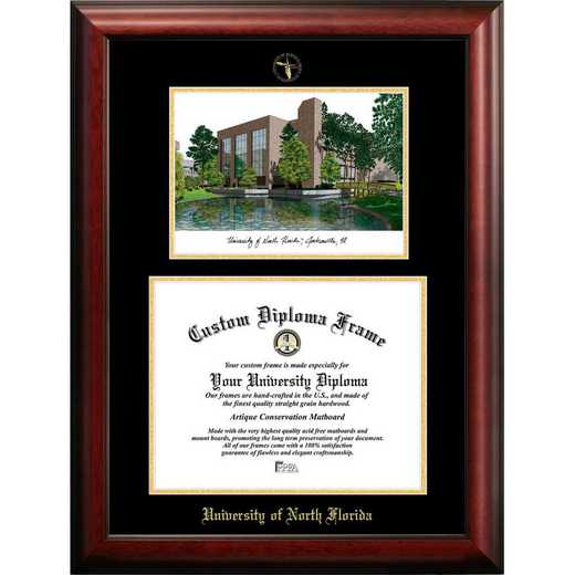 FL993LGED-1185: University of North Florida 11w x 8.5h Gold Embossed Diploma Frame with Campus Images Lithograph