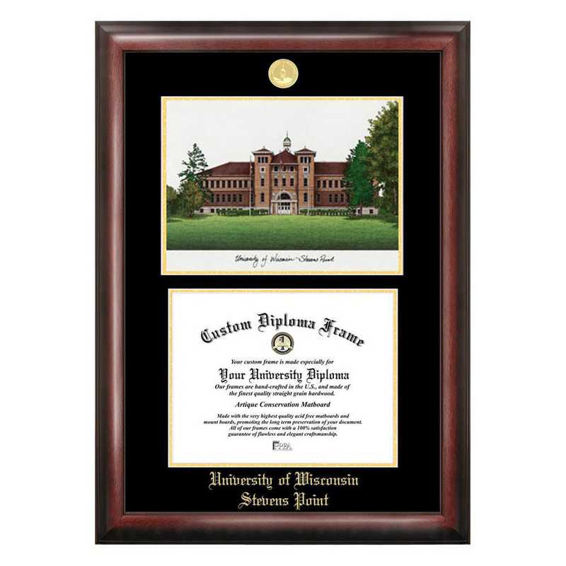 WI993LGED-108: University of Wisconsin- Stevens Point 10w x 8h Gold Embossed Diploma Frame with Campus Images Lithograph