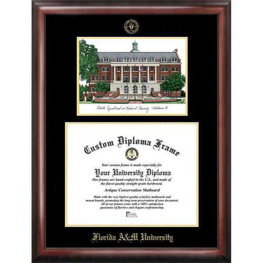 FL997LGED-1185: Florida A&M University 11w x 8.5h Gold Embossed Diploma Frame with Campus Images Lithograph