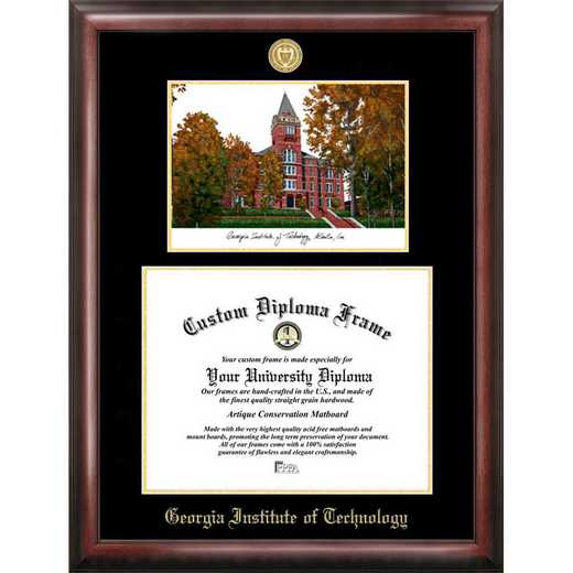 GA974LGED-1714: Georgia Institute of Technology 17w x 14h Gold Embossed Diploma Frame with Campus Images Lithograph