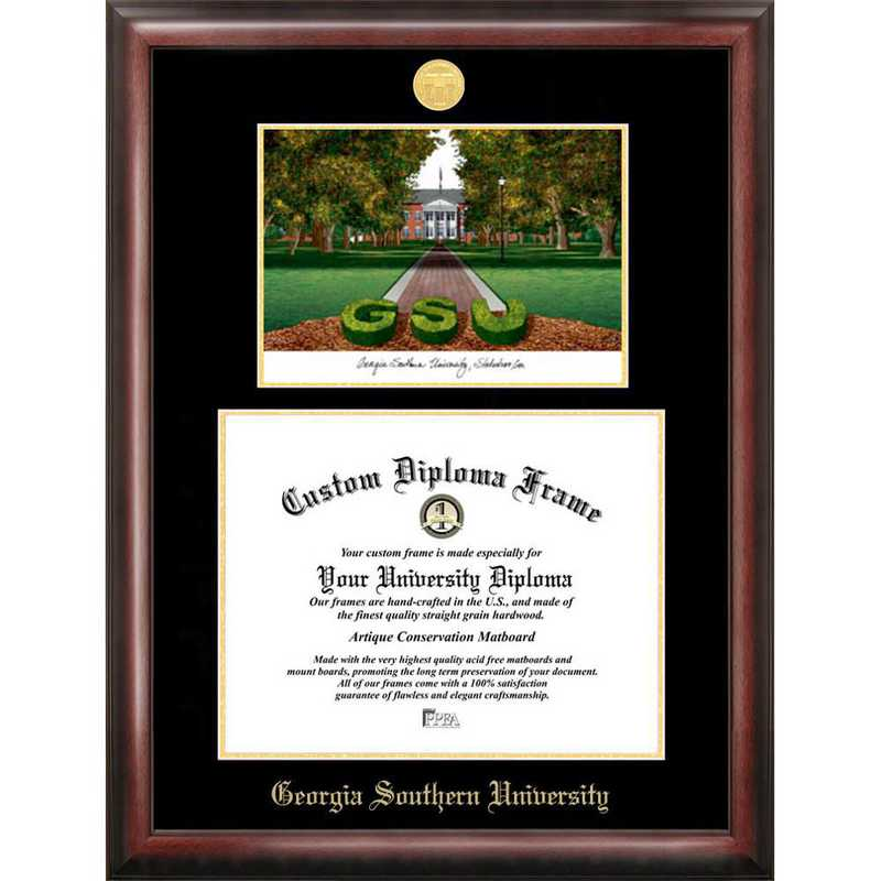 GA975LGED-1512: Georgia Southern 15w x 12h Gold Embossed Diploma Frame with Campus Images Lithograph