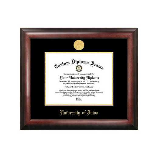 IA995GED-1185: University of Iowa 11w x 8.5h Gold Embossed Diploma Frame