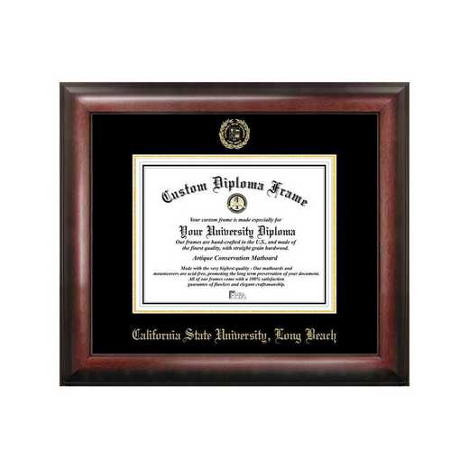 CA923GED-1185: Cal State Long Beach 11w x 8.5h Gold Embossed Diploma Frame