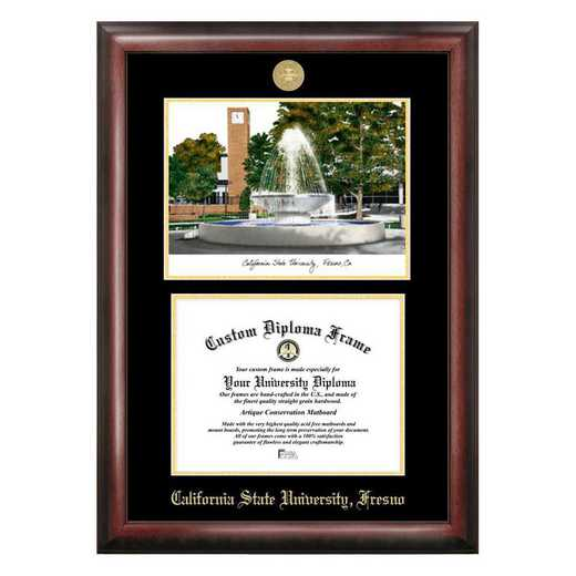 CA920LGED-1185: Cal State Fresno 11w x 8.5h Gold Embossed Diploma Frame with Campus Images Lithograph