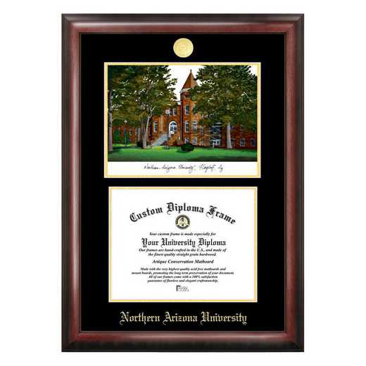AZ995LGED-1185: Northern Arizona University 11w x 8.5h Gold Embossed Diploma Frame with Campus Images Lithograph